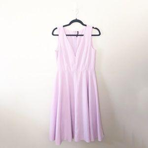 Lulu's Lavender Deep V A-Line Midi Dress